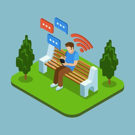 sentarse: Joven sentado en el parque y el envío de mensajes con el teléfono inteligente. Chatear hombre, utilizando teléfono inteligente hombre, hombre de mensajes de teléfonos inteligentes. 3d ilustración isométrica