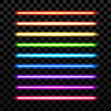 Realista colorido haz de láser sobre un fondo oscuro transparente. arma espada futurista. haz de láser, láser brillante, neón espada láser eléctrica, majestuosa espada láser equipo de la ilustración
