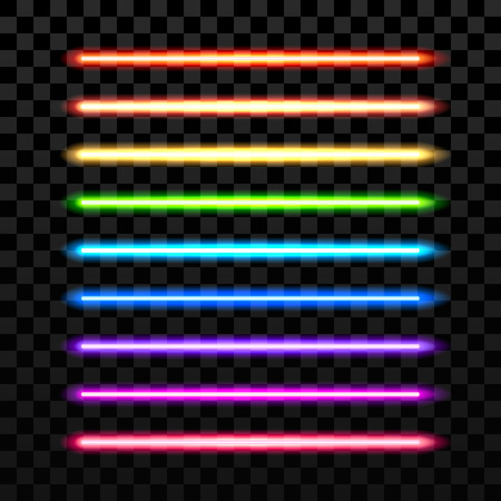 Realistyczne kolorowe wiązki laserowej na przezroczystym ciemnym tle. Futurystyczna broń miecz. Wiązka lasera, świecące laserowe, miecz neonowego elektryczny, majestatyczny laserowy Sprzęt Miecz ilustracji