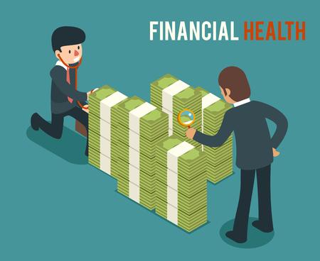 financial adviser: Money health isometric 3d illustration. Bank money health, cash money health, saving and checking money health finance money health