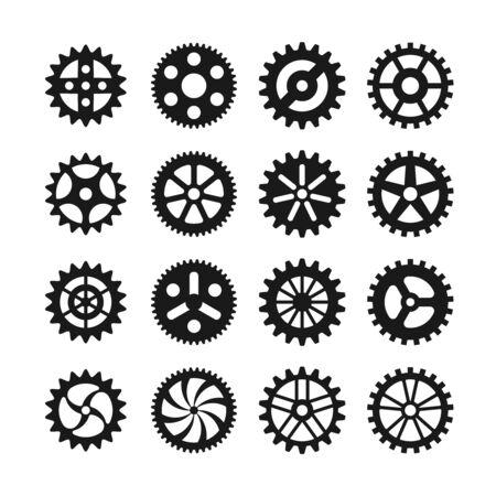 machinery machine: Gear wheels icons set. Gear wheel, machine gear wheel,  engineering gear wheel machinery illustration