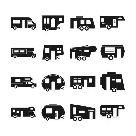 rv: RV cars, campers icons. Rv camper car, van rv car vehicle, travel rv car home, transportation trailer illustration