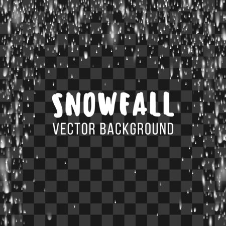 snowstorm: Snowfall on the transparent background.  abstract template. Snowfall winter, nature snowfall, chaotic snowfall snowstorm, phenomenon snowfall decoration illustration Stock Photo