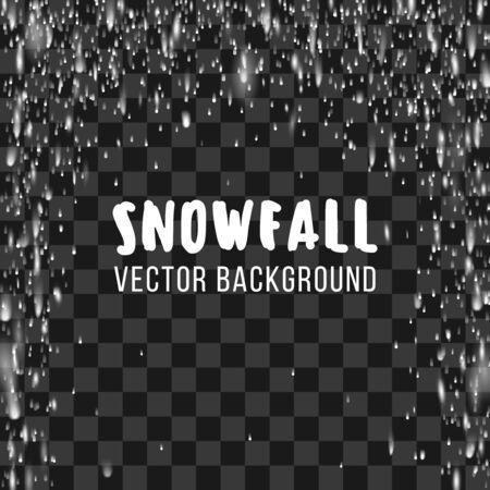 Snowfall on the transparent background.  abstract template. Snowfall winter, nature snowfall, chaotic snowfall snowstorm, phenomenon snowfall decoration illustration Stock Photo