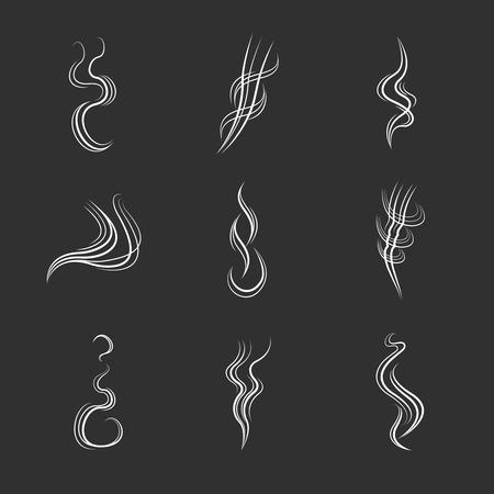 White smoke lines on black background. Smoke flow effect, motion smoke curve, steam dynamic smoke element. illustration set
