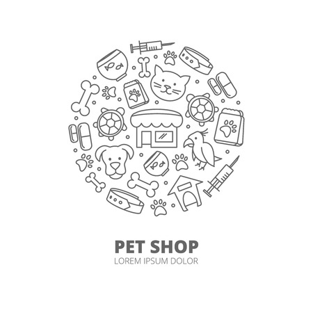 shop for animals: Pet shop with linear icons of  cats, dogs, goods for animals. Abstract veterinary concept. Animal pet, shop pet and veterinary pet illustration