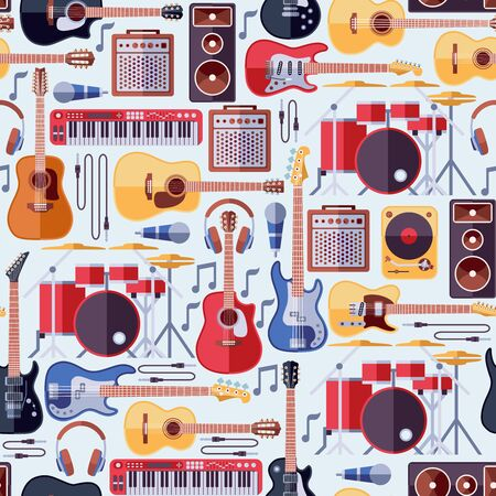 楽器のシームレスな背景。音楽パターン、楽器ギター シームレス パターン、楽器コンサート、ロック楽器音響図