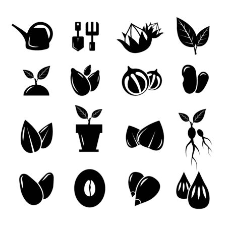 seedlings: Seed and gardening icons. Seed gardening, nature seed, tool for gardening, seed plant, gardening trowel, growth seed icon set gardening illustration