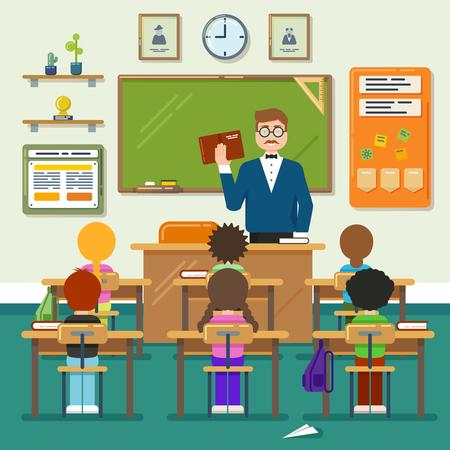 小学生、生徒と教師と学校の教室。ベクトル フラット イラスト。集合教育、小学生教室、レッスン教室