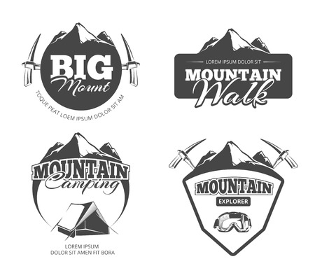 mountaineering: Climbing, trekking, hiking, mountaineering retro vector emblems, labels badges. Hiking travel label, climbing label outdoor, mountaineering label illustration