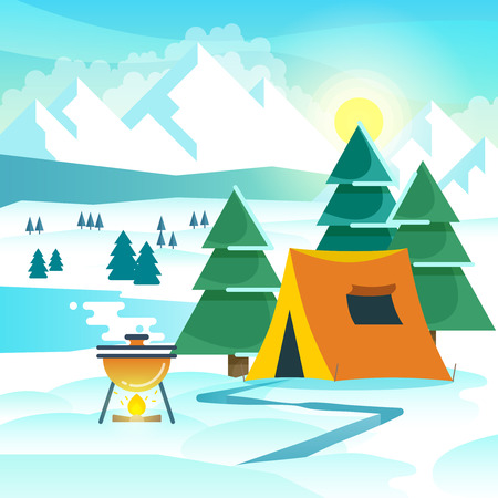 hiking: Winter hiking vector background with tent and bonfire. Hiking winter, travel hiking adventure, tourism hiking outdoor illustration