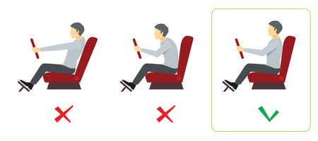 Correct spine posture for driver. Spine driver incorrect, right spine driver, position good spine driver. Vector illustration infographics Illustration