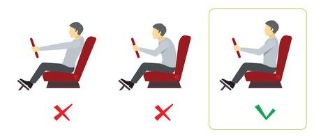 Correct spine posture for driver. Spine driver incorrect, right spine driver, position good spine driver. Vector illustration infographics Illustration