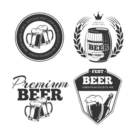 Festival de la cerveza de vectores emblemas, etiquetas, escudos. etiqueta de la botella de cerveza, de la cerveza pub, cerveza bebidas ilustración insignia Ilustración de vector