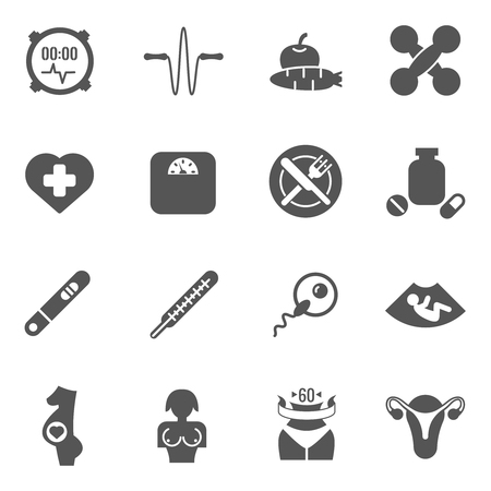 health and fitness: Women health care vector black icons. Care woman health, health woman, fitness and reproduction woman illustration Illustration