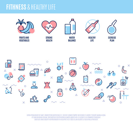 Fitness, equipment, sports training items, weight diet, healthy life vector concept in line style.  Sport health, sport fitness exercise, food and sport dieting, sport activity illustration