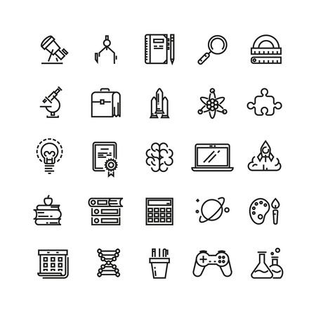 study icon: Science and education linear vector icons. Science education, school education icon, study science, learning education icon illustration Illustration