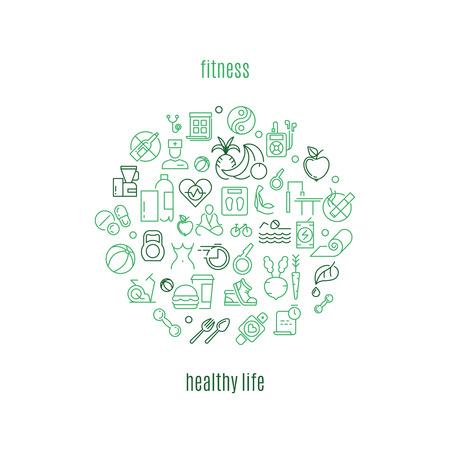 la plantilla de vectores en el estilo lineal para gimnasios y clubes de fitness. vida sana, de buena condición física, gimnasio ilustración vida saludable