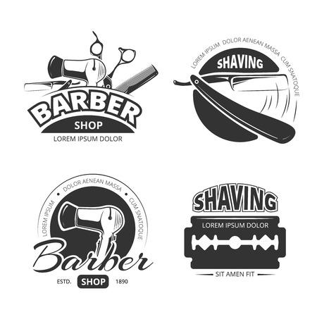 barber scissors: Vintage barber shop vector, labels and badges. Shaving and barbershop label, scissors and barber, badge or label barbershop illustration