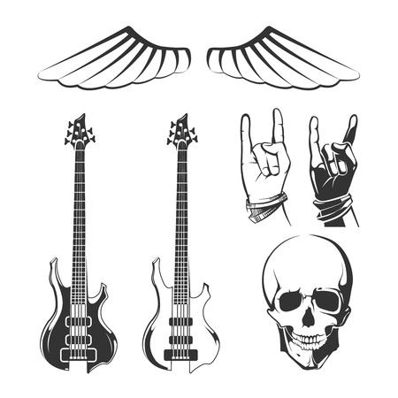 recording studio: Elements for rock music and recording studios vector vintage emblems, labels, badges and. recording studio, rock music label, rock music badge, emblem rock music illustration