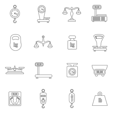 kilogram: Linear scales and weight vector icons set. Scale digital, weight kilogram, load weight, scale gear, equilibrium scale, balance scale illustration