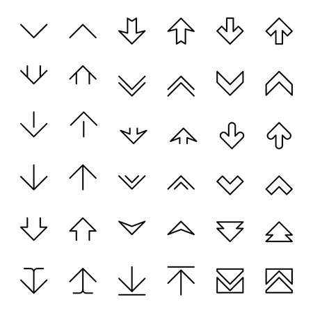scrolling: Arrow up and down scrolling vector buttons. Down up arrow, icon up and down, pointer up and down illustration Illustration