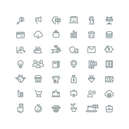 Affaires, finance, planification, d'analyse, de la banque, le marketing d'affiliation icônes de ligne de set. icône de marketing de l'entreprise, l'argent icône économies, icône de la finance, buisness planification icône illustration