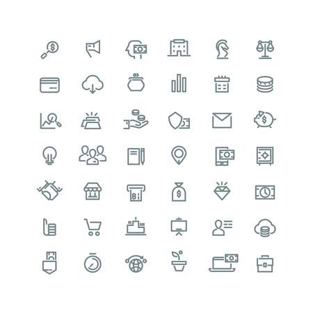 Business, finance, planning, analytics, banking, affiliate marketing vector line icons set. Marketing business icon, money savings icon, finance icon, buisness planning icon illustration