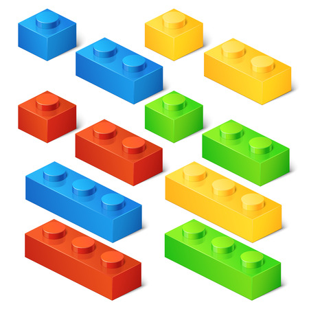 game block: Construction toy cubes. Connector bricks. 3D isometric set. Game block, construction block toy, brick plastic toy, cube toy illustration