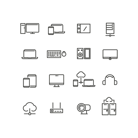 computer device: Computers and devices line icons set. Computer device,  computer icon, communication computer device, technology electronic icon, vector illustration