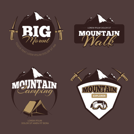 mountaineering: Outdoor mountain camping, alpinism vector emblems, labels, badges. Mountaineering emblem, climbing emblem, alpinism emblem label illustraton