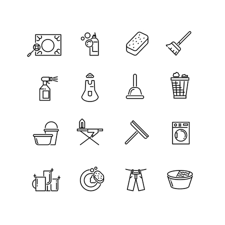 cleanness: Thin line style cleaning vector icons. Cleaning household, cleaning linear icon, cleaning pictogram illustration Illustration