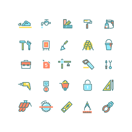 renovations: Construction, home repair, building tools vector linear icons set. Construction icon, repair construction tool, building construction  house, icon construction renovation illustration
