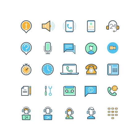 phone support: Contact us and support line icons. Phone support, call support, help assistance support, service support communication. Vector illustration Illustration