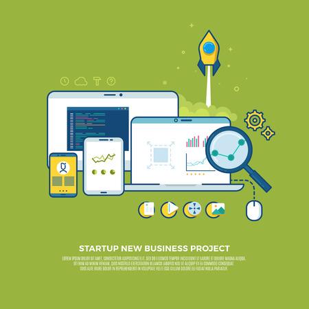 digital background: Management, strategy, digital marketing, start up vector business concept background. Marketing business start up, strategy start up, innovation bussines start up illustration