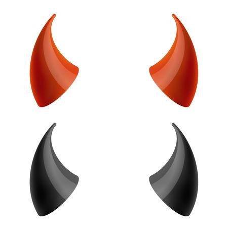Red and black devil horns. Horn evil, demon horn, carnival horn satan. Vector illustration Иллюстрация