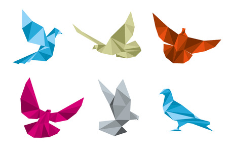 Paper pigeons, doves origami vector set. Dove and bird, wing dove paper, origami dove polygon illustration Illustration