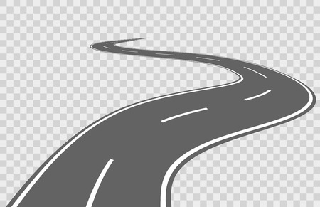 Abstract winding vector road. Road winding, travel road asphalt, street road for transportation, road highway illustration