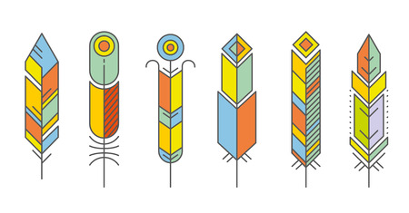 ecoration: Abstract feather color icons. Feather bird ecoration, beauty feather geometric, pattern geometric feather. Vector illustration Illustration