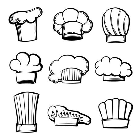 toque: Outline chef hats and toques vector set. Chef hat, restaurant chef cap, uniform chef, kitchen toque illustration