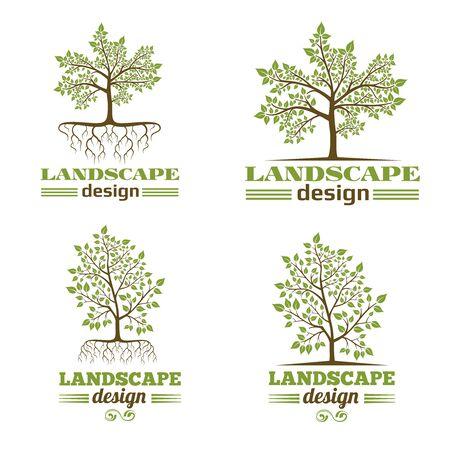 Landscape design company emblems. Tree with roots design. Tree landscape design, nature landscape design,  organic landscape design. Vector illustration Illustration