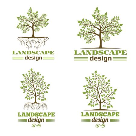 rooted: Landscape design company emblems. Tree with roots design. Tree landscape design, nature landscape design,  organic landscape design. Vector illustration Illustration