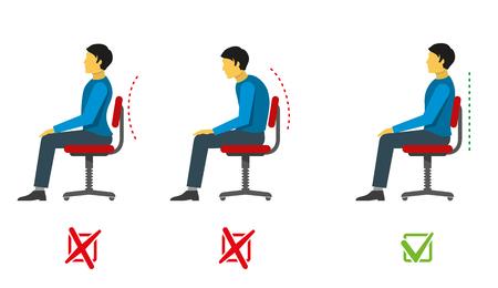 buena postura: posición sentada correcta y malo. Vector Infografía médica. Posición sentarse a la derecha, la posición de sentarse incorrecta, la persona se sienta columna vertebral posición correcta, incorrecta, médico ilustración postura infografía