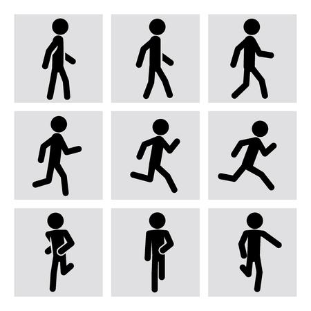 Walking and running people vector icons. Walking animation, runner sport, man running, fitness walking, running activity, jogging walking, running training illustration