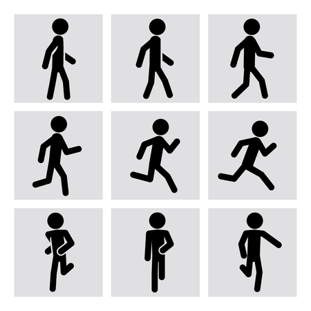 Walking and running people vector icons. Walking animation, runner sport, man running, fitness walking, running activity, jogging walking, running training illustration