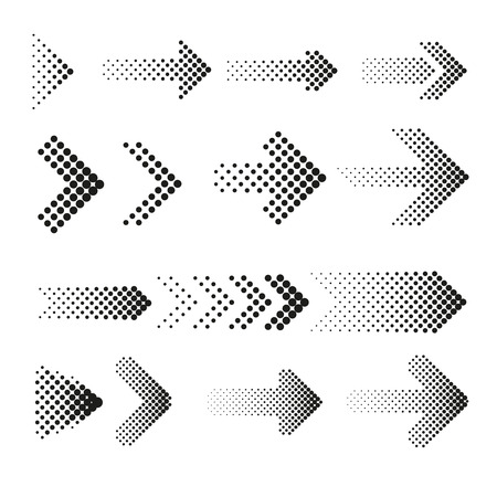 Dotted halftone arrows vector set. Arrow dot, arrow halftone, web arrow pattern illustration Vectores