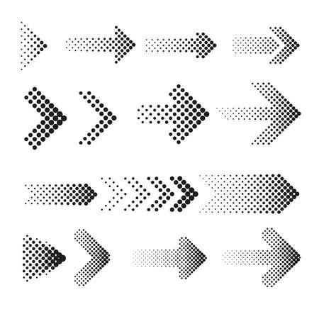 flecha: flechas de medios tonos vector conjunto de puntos. La flecha de puntos, media flecha, flecha web patrón de ilustración