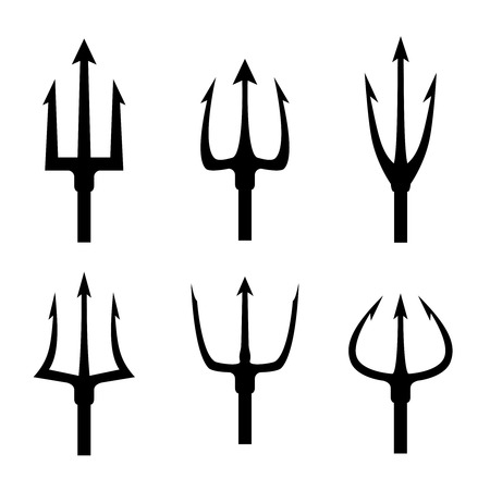 블랙 트라이던트 실루엣 벡터 설정합니다. 갈퀴 도구 개체, 갈퀴 무기는 날카로운 포크 그림을 갈퀴