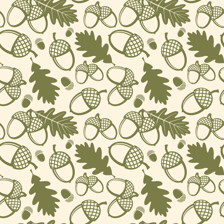 oak: Oak leaves and acorns vector seamless pattern. Pattern seamless, oak acorn, nature plant oak leaf, flora oak leaves illustration