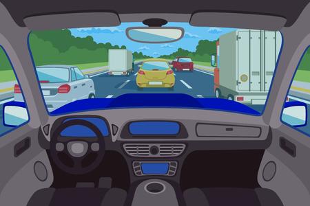 Highway, de weg bekeken binnen auto. Highway binnen auto, weg in auto, vervoer verkeer binnen auto. vector illustratie
